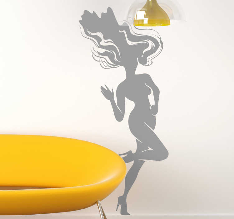 TenStickers. Sticker decorativo chioma sciolta. Adesivo murale che raffigura l'attraente silhouette di una ragazza svestita, con tacchi alti e capelli al vento. Un'idea originale per decorare le pareti di casa.