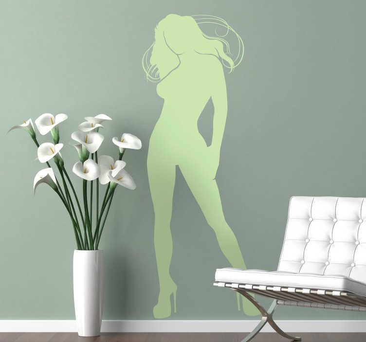 TenStickers. Sexy Silhoulette Wandtattoo. Dekorieren Sie Ihr Schlafzimmer mit diesem erotischen Wandtattoo einer sexy Silhoulette einer Frau mit wehendem Haar und provozierender Pose.