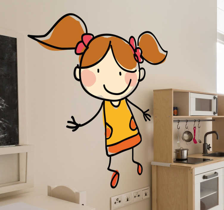 TenStickers. Adhésif mural fille aux couettes. Stickers mural illustrant une jeune fille très grande et mince avec deux couettes.Sélectionnez les dimensions de votre choix.Idée déco originale et simple pour votre intérieur.