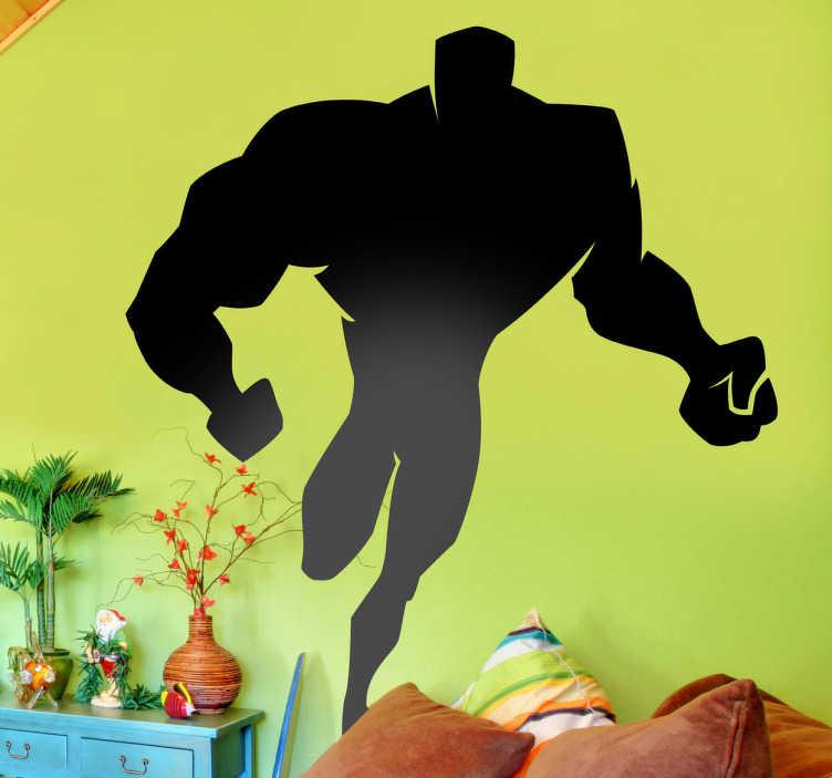 TenStickers. Wandtattoo Kinderzimmer Held in Aktion. Silhoulette eines muskulösen Superhelden. Verleihen Sie dem Zimmer von Ihrem Sohn ein spektakuläres aussehen und füllen es mit viel Power.