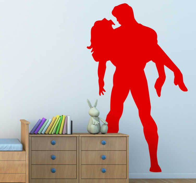 TenStickers. Naklejka dekoracyjna superbohater w akcji. Romantyczny obrazek przedstawiający superbohatera ratującego piekną kobietę przed niebezpieczeństwem.