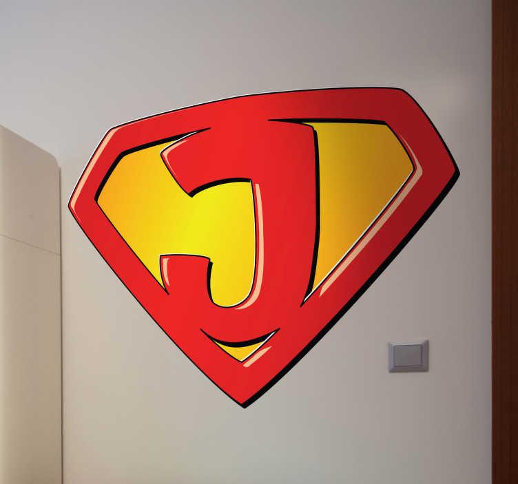 TenStickers. Super erou j copii autocolant. John, jack, joe, jordan, jane, joanna... Autocolantul ideal pentru peretele super-erou pentru dormitorul tău pentru copii! Puteți alege acum copilul dvs. Inițial pentru a decora camera lui sau ei. Personalizați camera copilului dvs. și faceți-i să se simtă ca niște super-eroi cu autocolante de înaltă calitate de vinil!
