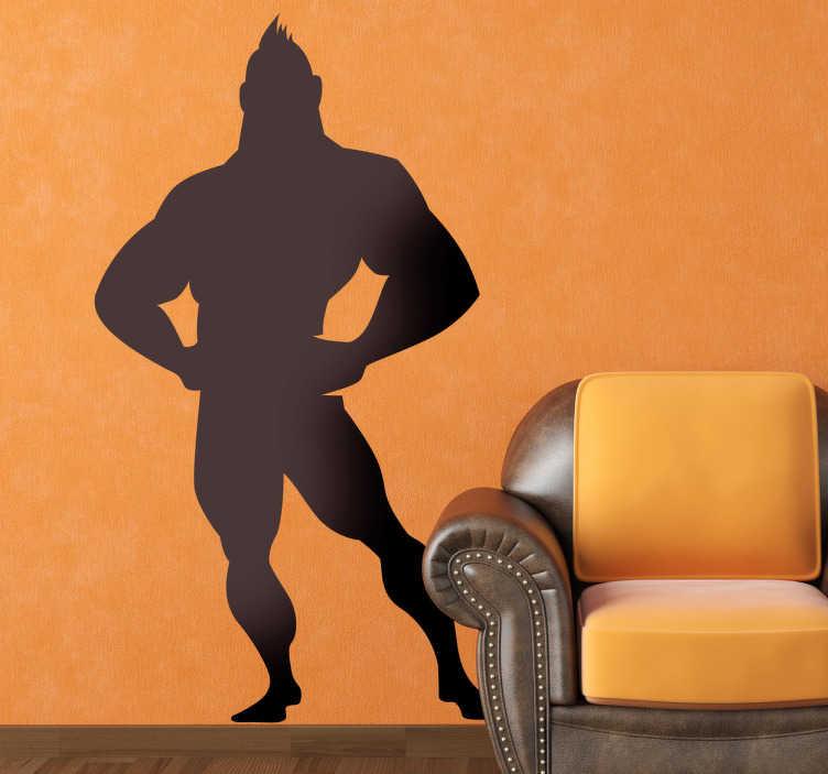 TenStickers. Adesivo bambini uomo forzuto. Sticker decorativo che raffigura un muscoloso superoe, paladino della giustizia, pronto ad entrare in azione.