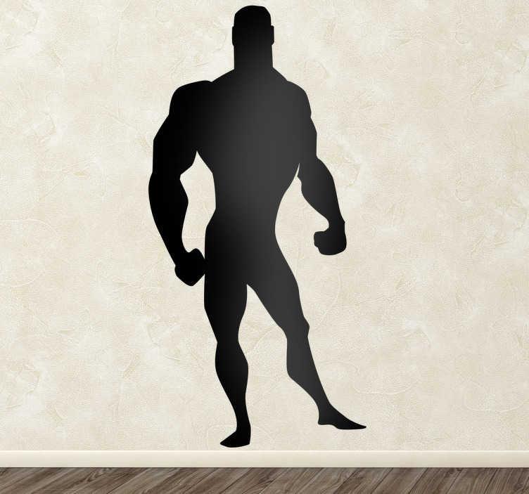 Adesivo bambini silhouette eroe forzuto