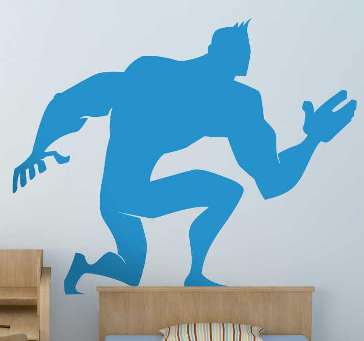 TenStickers. Wandtattoo Kinderzimmer Held. Tolles Wandtattoo, dass die Silhoulette eines muskulösen Superhelden zeigt, der gerade in der Pose ist, um loszudüsen und jemanden zu retten.