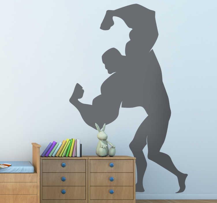 TenStickers. Sticker silhouette pose gespierde man. Een leuke muursticker met hierop de schaduw van een gespierde man met reusachtige armen. Deze wandsticker met deze silhouetten.