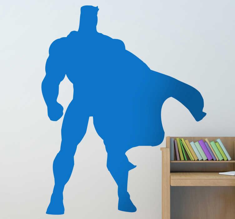 TenStickers. Sticker enfant super héros. Stickers décoratif représentant un super héros avec sa cape semblable à ceux que l'on retrouve dans les bandes dessinées. Super idée déco pour la chambre des garçons, fans de BD !