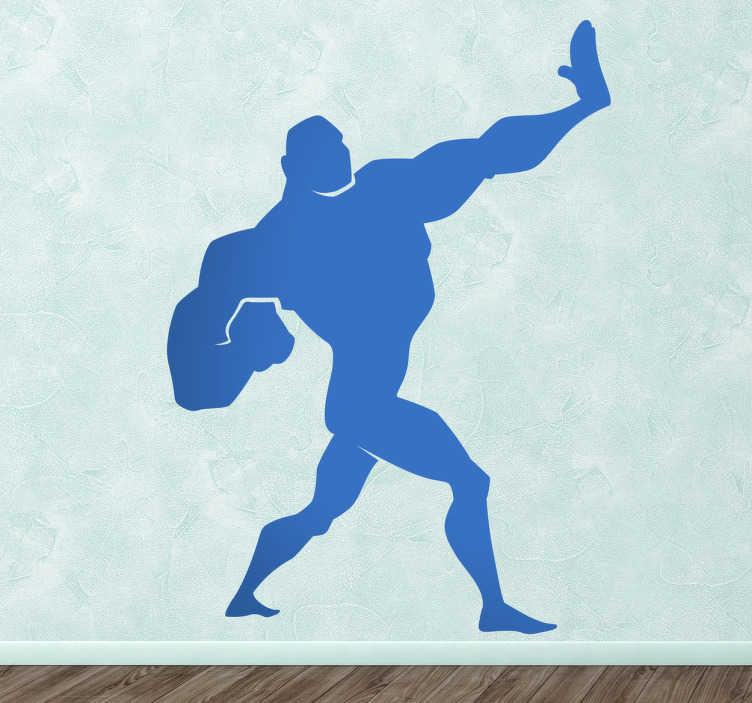 TenStickers. Kinderen superhelden sticker. Een silhouette muursticker van een grote sterke superheld. Je ziet hem in een pose en is hij klaar om te vechten.