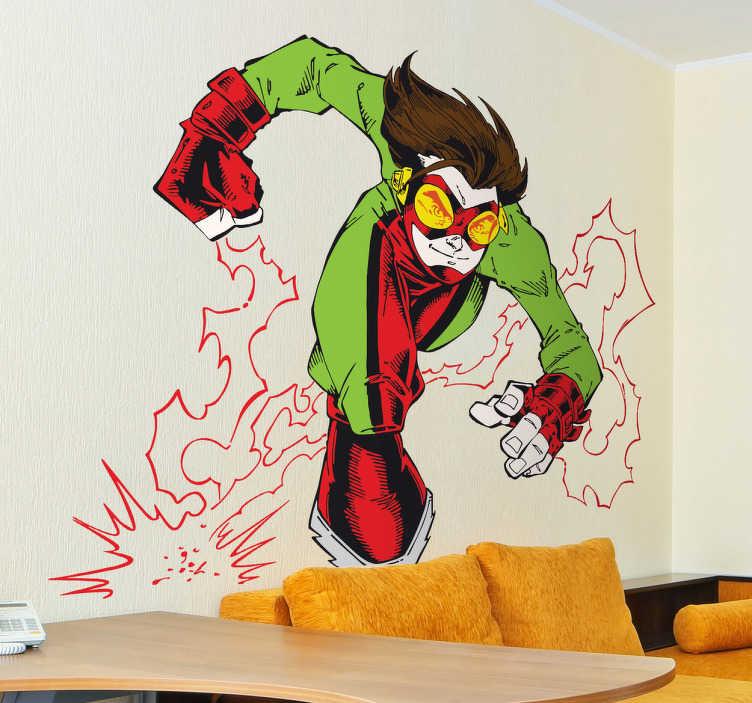 TenStickers. Super Electro Sticker. Kleurrijke komische stijl muursticker van een held met superkrachten tijdens het uitvoeren van een aanval. Briljante vinyl sticker voor de kleintjes.