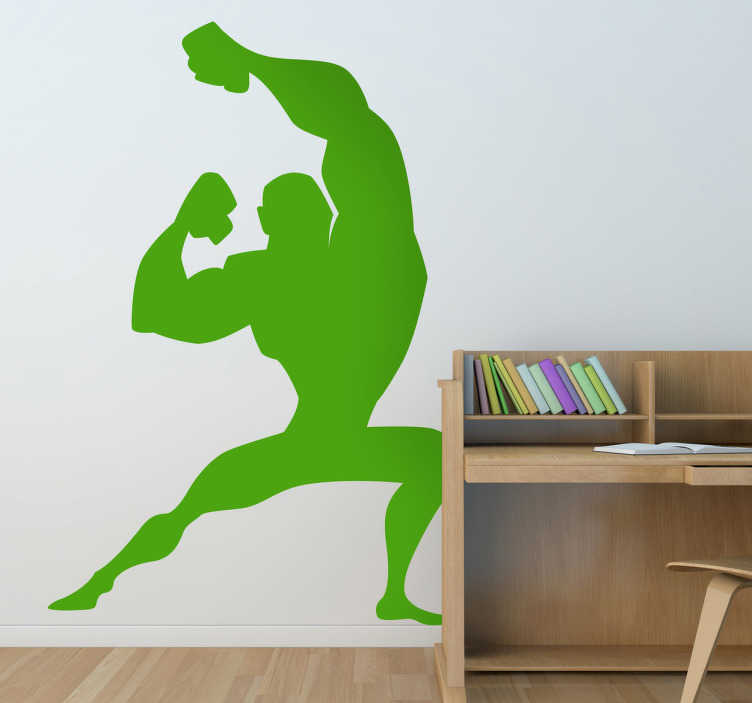TenStickers. Kids Super Hero Pose Wall Decal. Kids Wall Stickers - Comic style silhouette illustration of a strong male character with big muscles striking a pose.