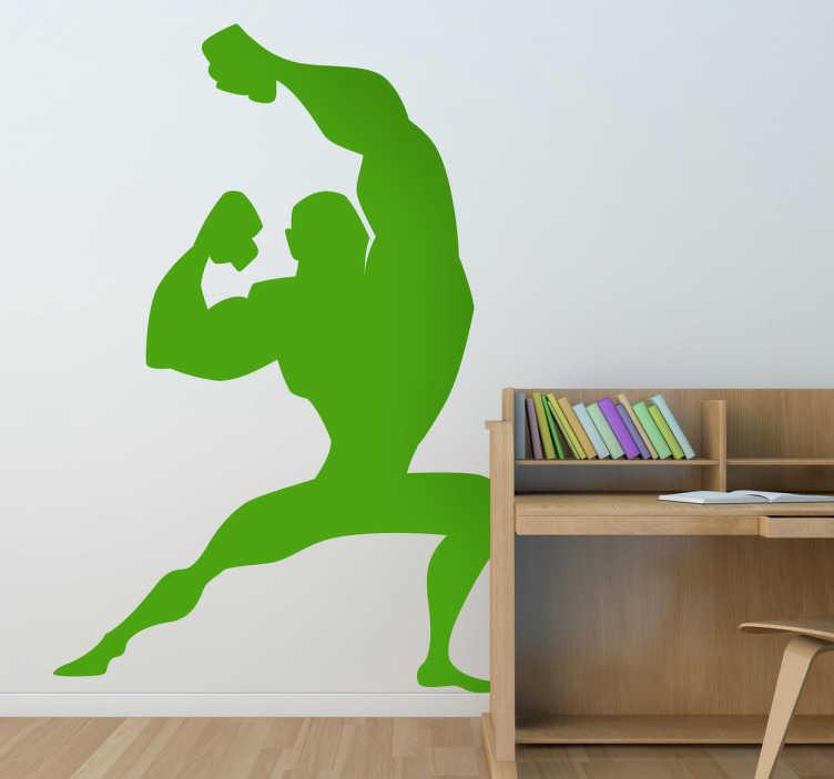 TenStickers. Adesivo cameretta supereroe in posa. Wall sticker che raffigura la silhouette di un robusto supereroe intento a mettere in mostra i propri muscoli. Ideale per decorare la camera dei bambini.