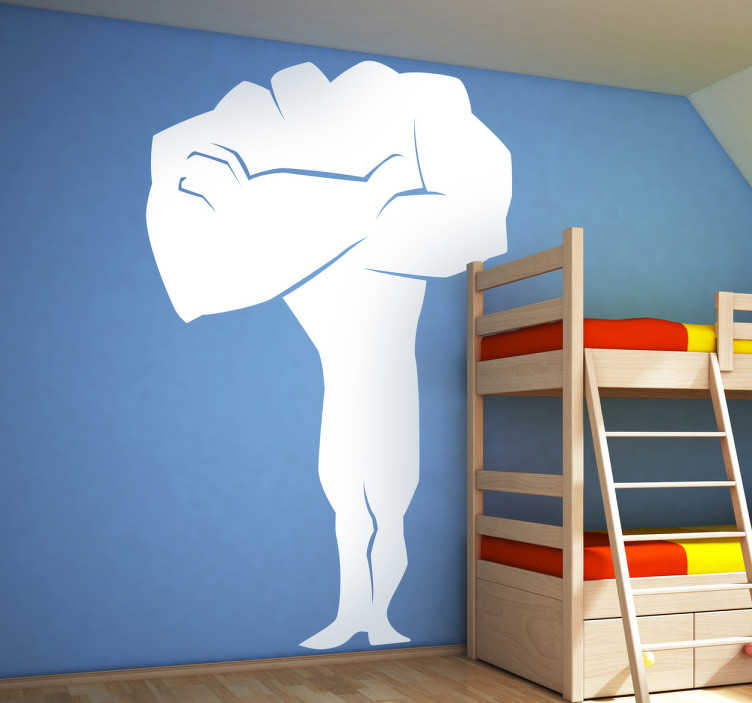 TenStickers. Wandtattoo Kinderzimmer Superstark. Tolles Wandtattoo, dass die Silhoulette eines muskulösen Superhelden zeigt, der seine Arme bestimmend vor der Brust verschränkt.