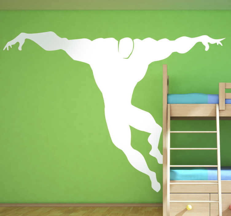 TenStickers. Kids Jumping Super Hero Wall Decal. Kid Wall Stickers-Comic style silhouette illustration of a strong male character with big muscles jumping in the air.