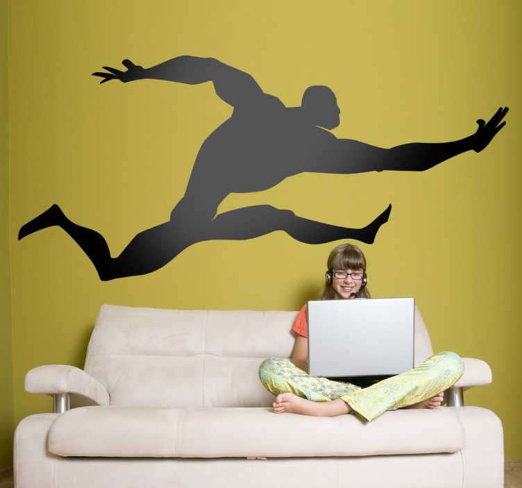 TenStickers. Kids Super Jumper Wall Decal. Kids Wall Stickers - Comic style silhouette illustration of a strong male character with big muscles leaping in the air.