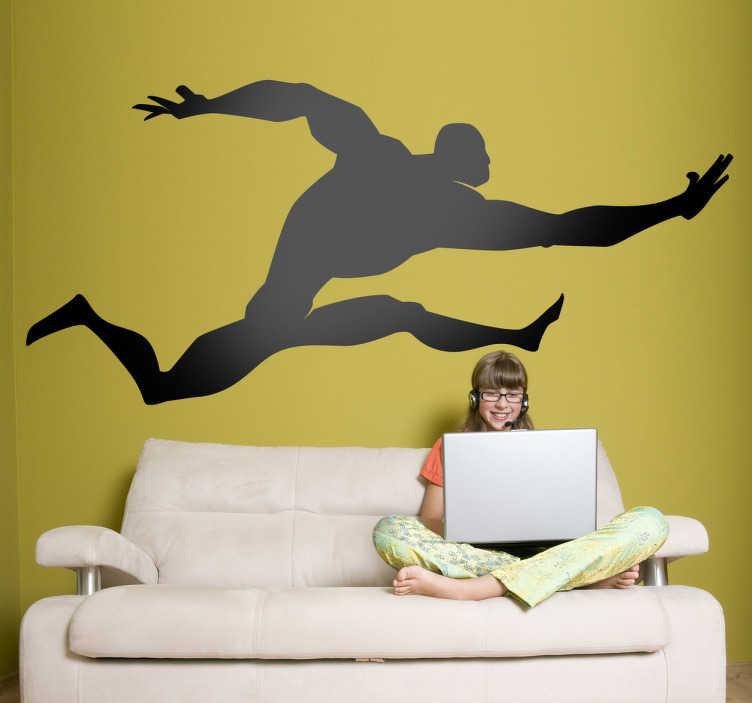 TenStickers. Copii super jumper wall decal. Autocolante de perete pentru copii - ilustrarea siluetei în stil comic a unui personaj masculin puternic, cu mușchi mari care sar în aer.