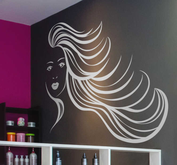 TenStickers. Sticker meisje lange haren. Een decoratieve en moderne sticker van een getekende jongedame. Met een serieuze blik en haar haren die in het rond.