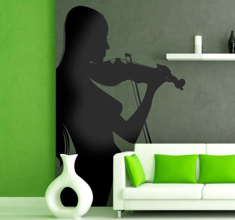 TenStickers. Autocolante parede da mulher a tocar violino. Este autocolante parede ilustra a silhueta de uma mulher a tocar o violino com um estilo único e próprio de artista de música.
