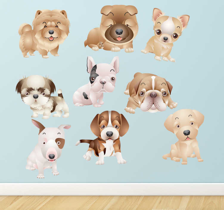 TenStickers. Adesivo bimba camera collezione cuccioli. Set di stickers decorativi che raffigurano nove cuccioli di cane di razze diverse: bulldog, chihuahua, beagle, bull terrier, ecc.