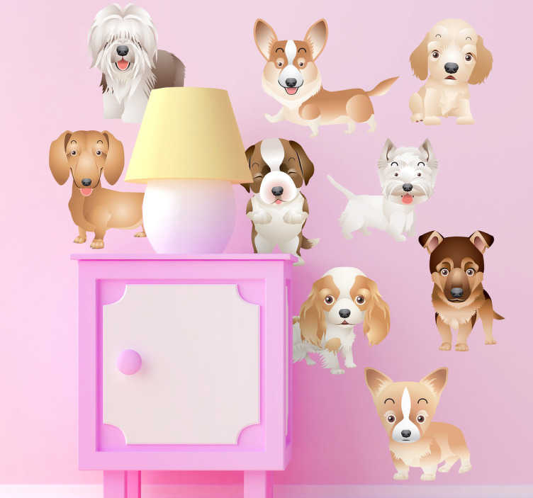 TenStickers. Miniature Puppies Sticker. A set of nine adorable stickers of miniature puppies, ideal for dog lovers and decorating children's bedrooms if they love dogs and animals.