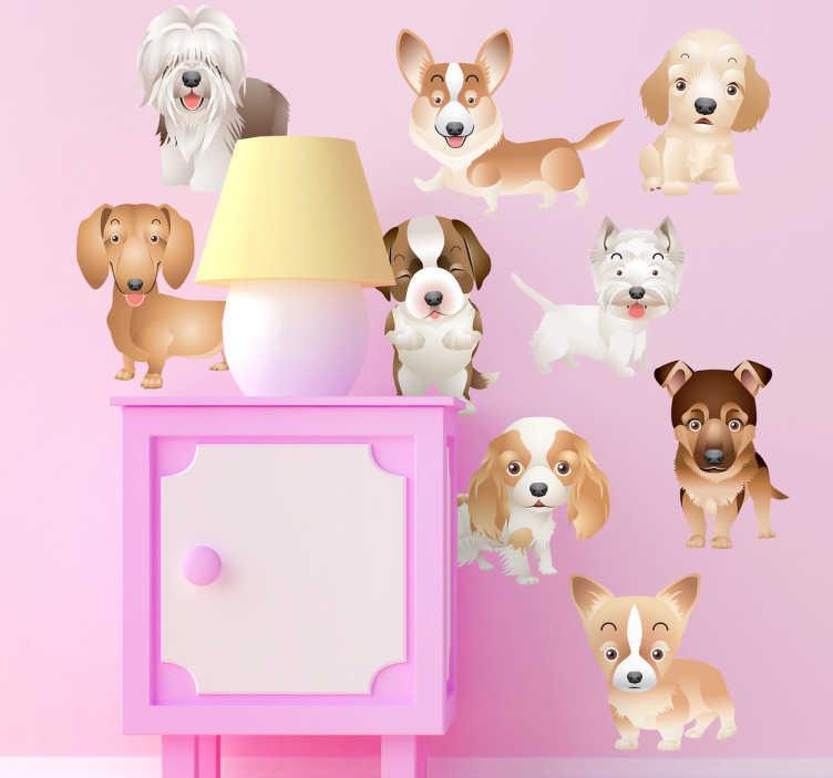 TenStickers. Adesivo bambini cameretta collezione cuccioli. Set di stickers decorativi che raffigurano nove cuccioli di cane di razze diverse