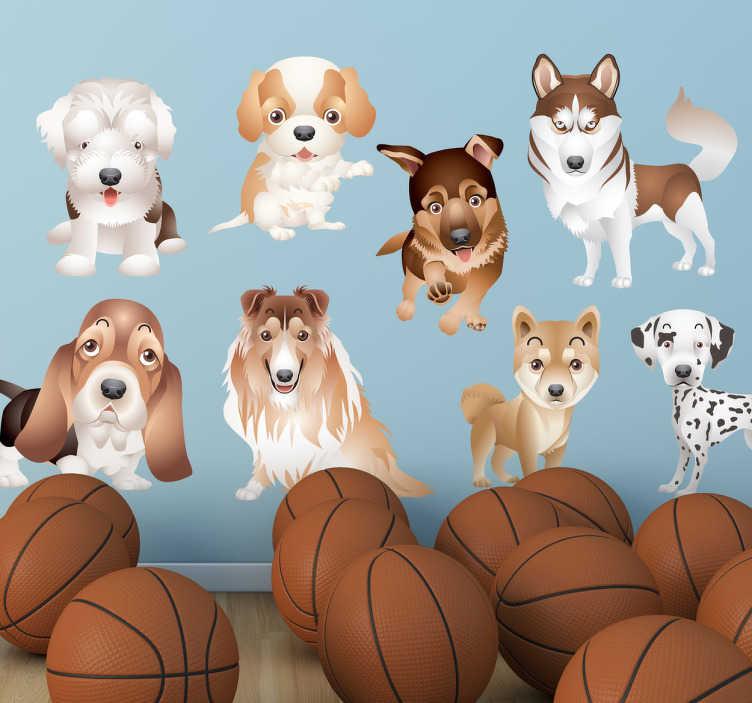 TenStickers. Adesivo cameretta collezione cuccioli 2. Set di stickers decorativi che raffigurano nove cuccioli di cane di razze diverse: pastore tedesco, husky, dalmata, collie, ecc.