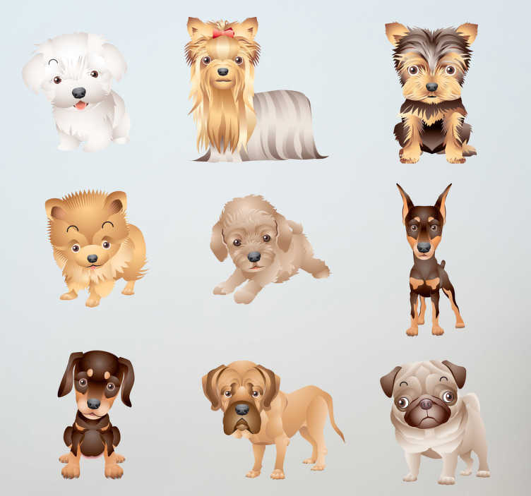 TenStickers. Adorable Puppy Decal Collection. A fascinating collection of decals for those who love dogs! Decorate their room with this fun collection!