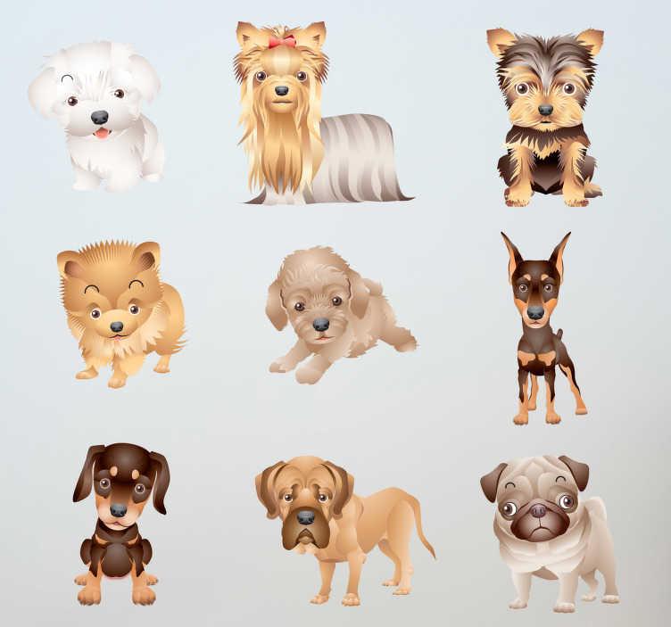 TenStickers. Adesivo cameretta cuccioli. Set di stickers decorativiche raffigura novecucciolidicane Le misure indicate sono riferite all'insieme degli adesivi