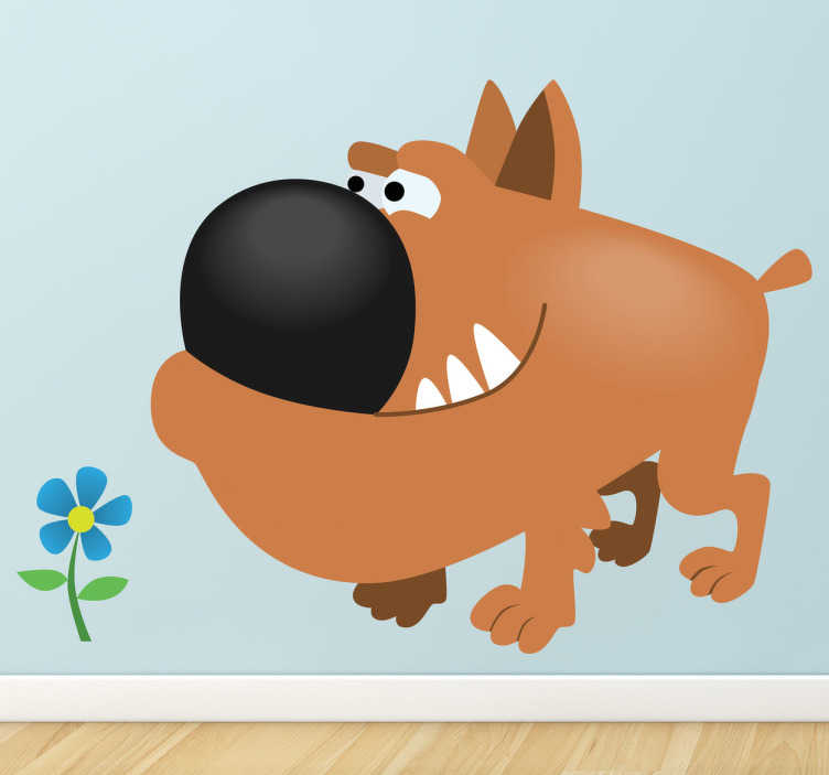 TenStickers. Kids Brown Bull Dog Sticker. Kids Wall Stickers; Playful and fun illustration of a brown bull dog sniffing a small blue flower. Ideal for decorating for kids bedrooms