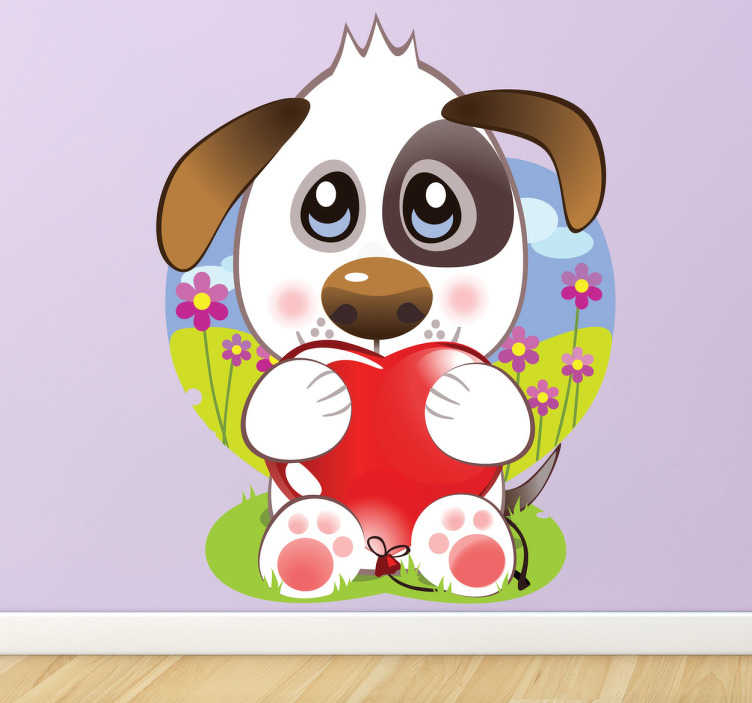 TenStickers. Kids Puppy Heart Love Wall Sticker. Kids Wall Stickers-Playful and adorable illustration of a cute puppy dog holding a red heart.