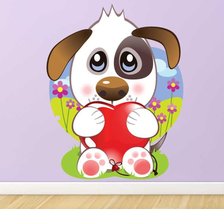 TenStickers. Autocolante de parede cãozinho do amor. Apresentamos para vocês o nosso autocolante de parede com um cão agarrado a um coração à espera que lhe adotem, faça esse favor e adote esse cachorro.