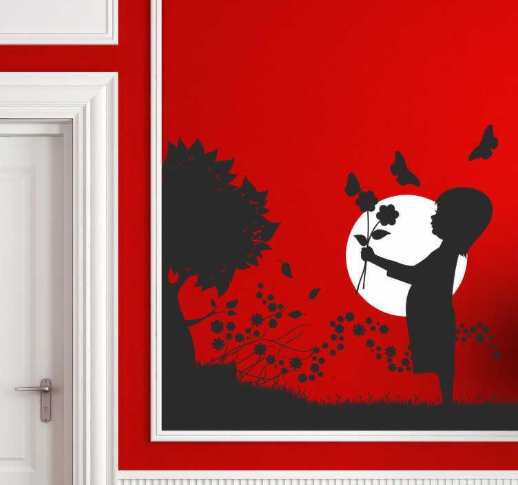Naklejka na ścianę dziewczynka z motylami