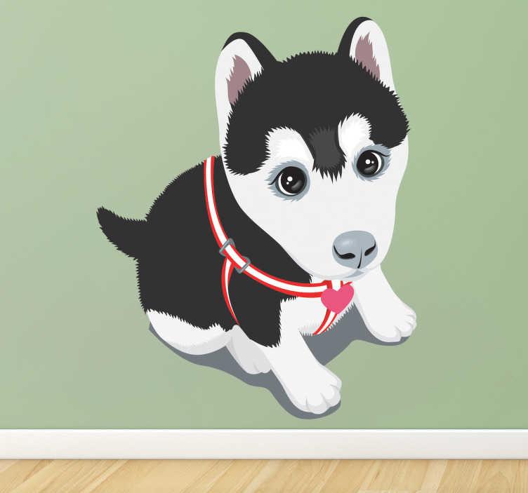 TenStickers. Adesivo bambini cucciolo di husky. Sticker decorativo che raffigura un piccolo cucciolo di husky seduto, con il suo bel guinzaglio e due occhioni dall'aria molto dolce.