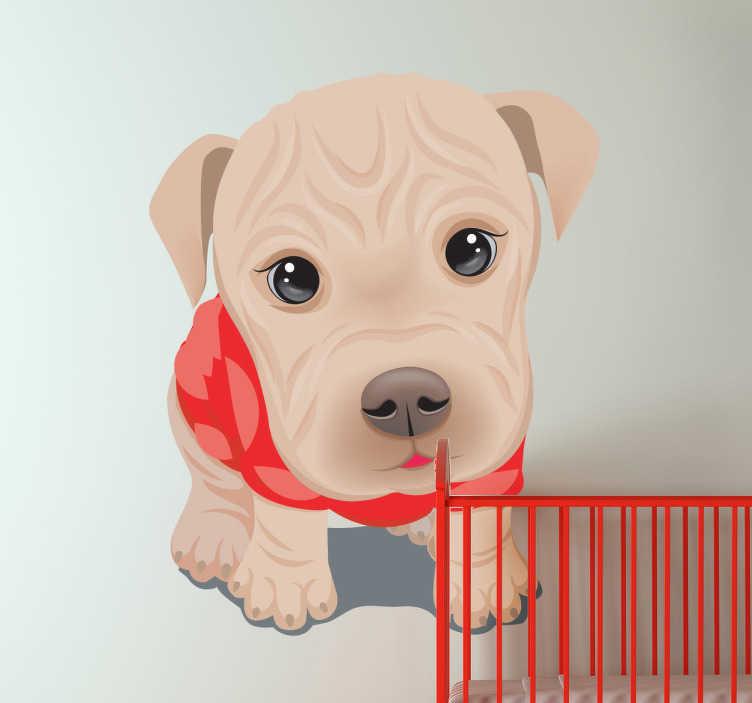 TenStickers. Sticker kinderkamer schattige hond. Een leuke en schattige muursticker van deze prachtige puppy met mooie oogjes en een rood truitje aan.