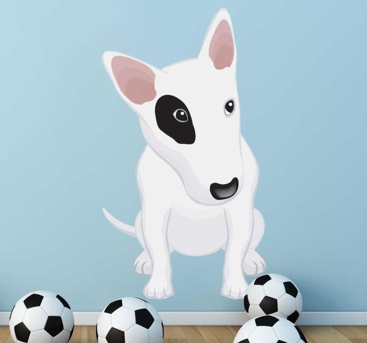 TenStickers. 흰색 미국의 핏불 벽 스티커. 아이 벽 스티커 - 검은 눈을 가진 흰색 핏불 강아지의 장난이 그림. 아이들 침실, 보육원 및 놀이 공간을 꾸미기에 좋습니다.