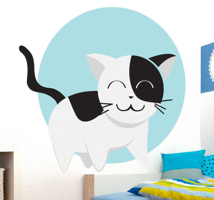 TenStickers. Kids Cat Circle Wall Sticker. Kids Wall Stickers - Playful and heart warming illustration of a black and white cat in fact of a light blue circle