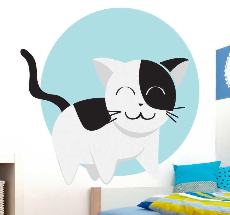 TenStickers. Sticker kinderkamer vrolijke kat. Een leuke muursticker van een vrolijke poes in de kleuren zwart en wit met een blauwe cirkel op de achtergrond.