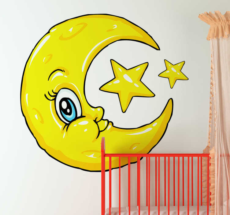 TenStickers. Kids Stickers Moon & Stars. An illustration of a half moon and stars from our creative collection of star wall stickers to decorate your children's bedroom or playroom.