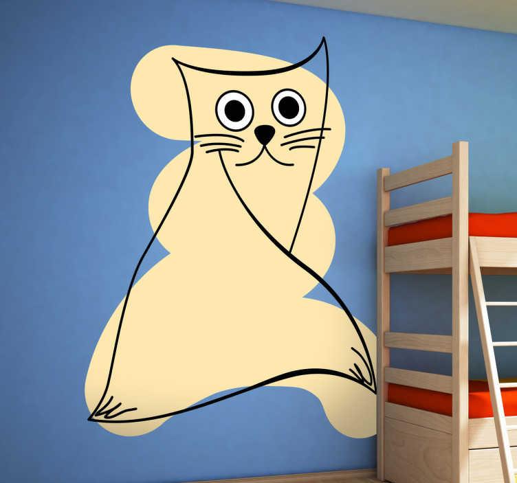 TenStickers. Sticker decorativo gatto beige. Adesivo murale che raffigura un gatto stilizzato di colore beige. Ideale per decorare le pareti della camera da letto.