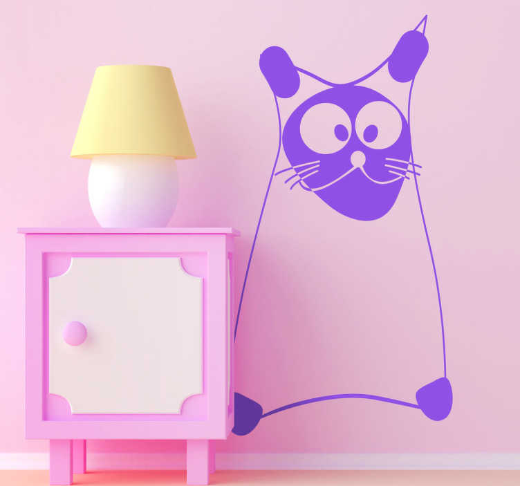 TenStickers. Wandtattoo lustige Katze. Gestalten Sie das Kinderzimmer mit diesem Wandtattoo, dass die Umrisse eine Katze zeigt. Sie schielt ein bisschen