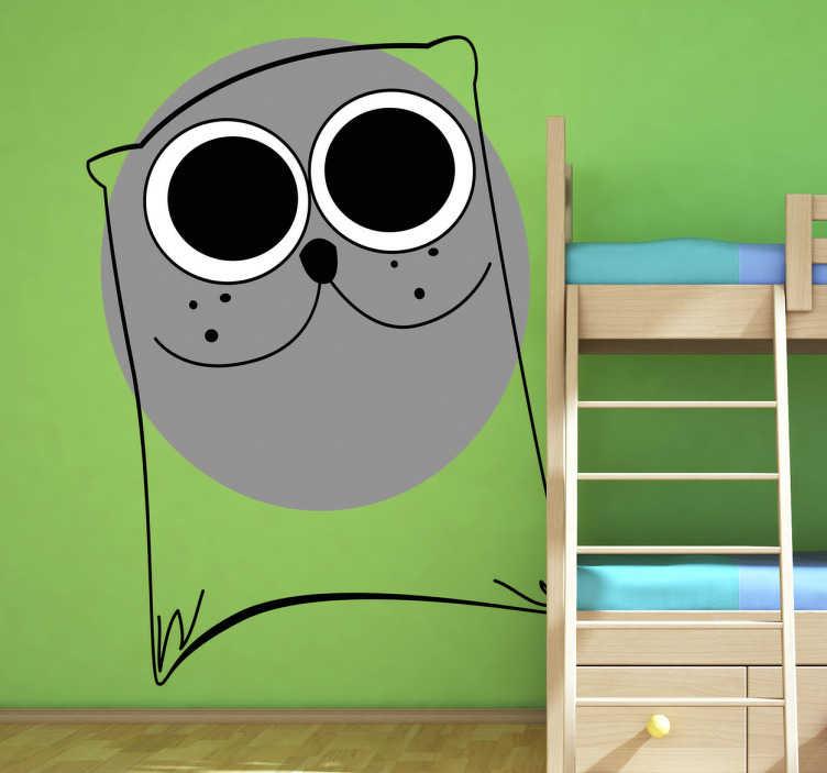 Sticker enfant illustration chat gris
