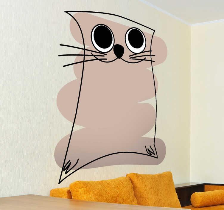 TenStickers. Wandtattoo Kinderzimmer lächelnde Katze. Gestalten Sie das Kinderzimmer mit diesem Wandtattoo einer abstrakten Katze.