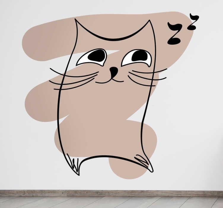 TenStickers. Naklejka dziecięca szkic muzycznego kota. Naklejka dekoracyjna dla dzieci, która przedstawia podśpiewującego sobie kota.