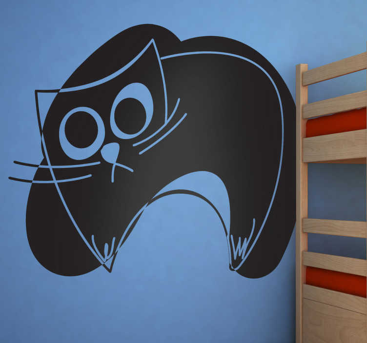 TenStickers. Kids Black Cat Stroke Wall Sticker. Kids Wall Stickers - Original abstract design of a cat against a black stroke. Ideal for decorating kids bedrooms or nurseries