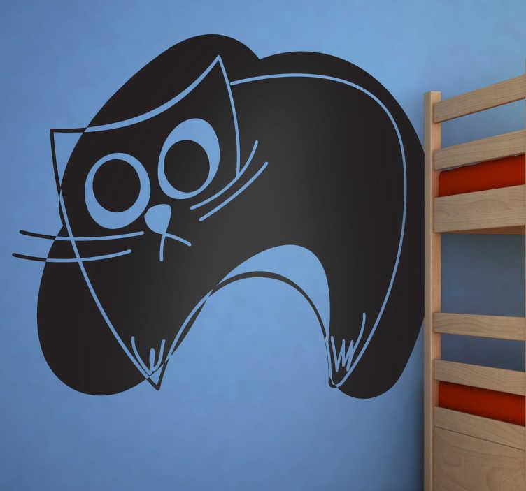 TenStickers. Naklejka dziecięca szkic czarnego kota. Oryginalny szkic przedstawiający czarnego, wylegiwującego się kota.