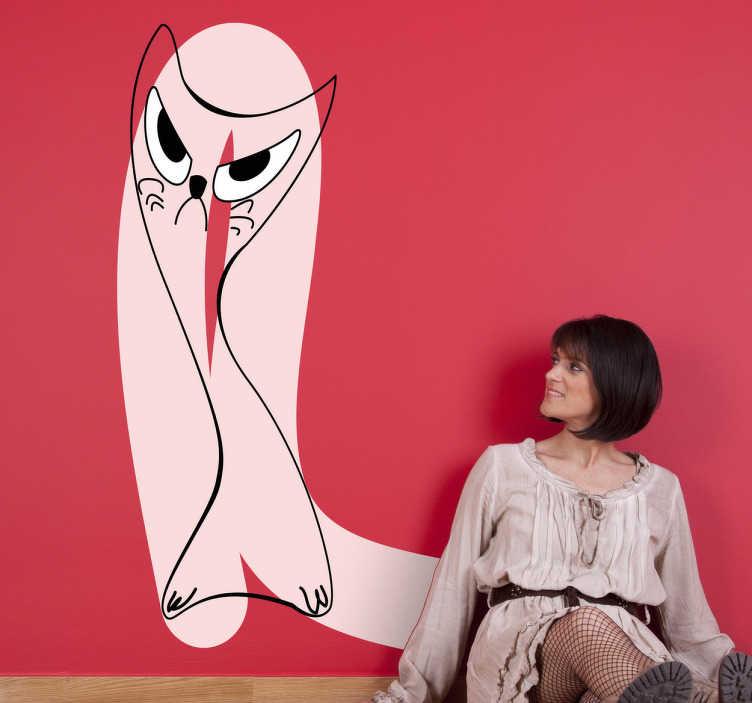TenStickers. Wandtattoo rosa Katze abstrakt. Mit diesem außergewöhnlichen Wandtattoo einer wütenden, abstrakten Katze machen Sie Ihre Wände zu etwas Besonderem.