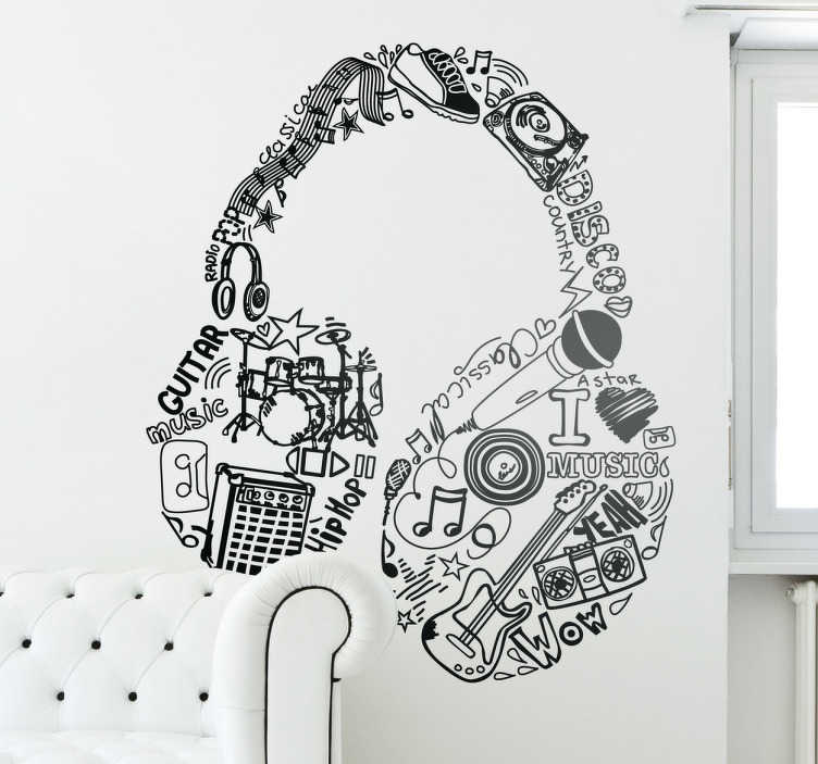 TenStickers. Music Elements Headphones Wall Sticker. Wall Stickers - Original design of a pair of headphones made up of different sources of music.