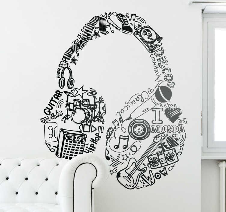 TENSTICKERS. 音楽要素ヘッドフォンウォールステッカー. 壁のステッカー - 音楽のさまざまなソースで作られたヘッドフォンのペアの元のデザイン。