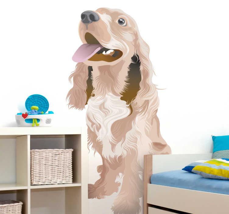 TenStickers. Sticker illustration chien heureux. Stickers représentant le meilleur ami de l'homme, le chien.Utilisez ce stickers pour personnaliser des objets ou les murs de la chambre d'enfant.