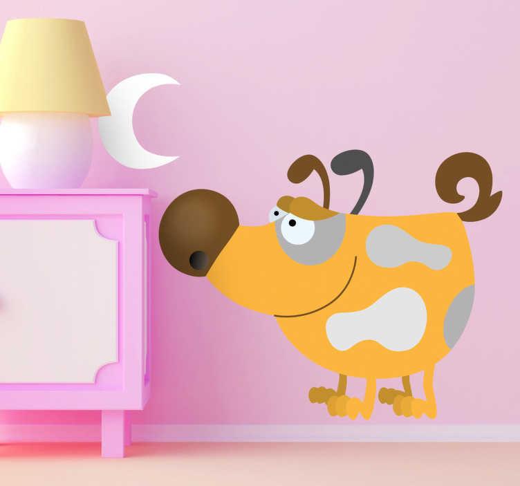 Sticker enfant chien jaune sous la lune