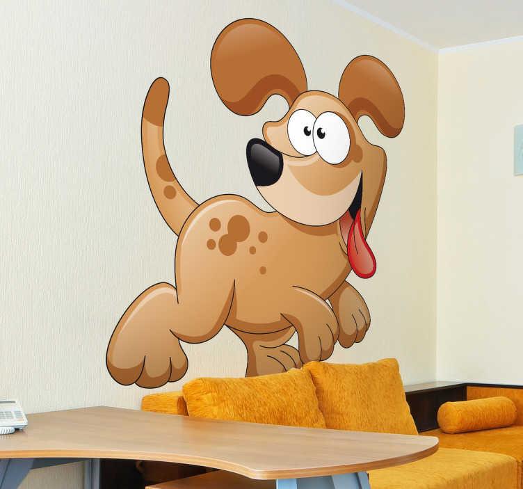 TenStickers. Naklejka wesoły pies. Naklejka na ścianę przedstawiająca zadowolonego psa z wywieszonym, czerwonym językiem. Jeśli Twoje dziecko uwielbia psy nasza naklejka będzie odpowiednia dla niego.